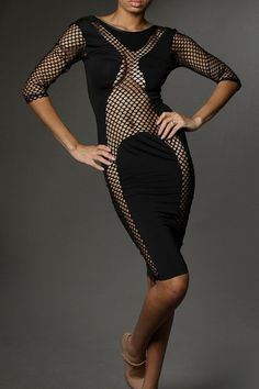 Solid Net Insert 1/2 Sleeve Scoop Back Sexy Knee Length Dress - See more at: http://www.pinkclubwear.com