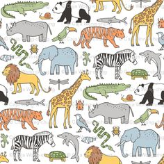 Zoo Animals Fabric - Zoo Animals Panda Giraffe Lion Tiger Elephant Zebra Birds By Caja Design - Cotton Fabric By The Metre by Spoonflower
