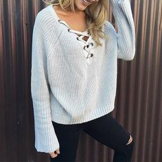 Grey Plain Drawstring Irregular Long Sleeve Pullover Sweater