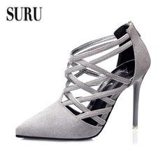 SURU 2016 summer shoes women pumps gray pointy toe zip stilettos heels  130829f0ef41