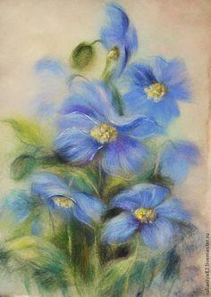 Купить картина из шерсти. Цветочный этюд. - картина, живопись шерстью, цветы, картина с цветами