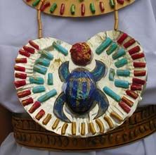 MAKE ~ Ancient Egyptian Scarab Necklace out of Tin foil, Paint, Macaroni and Tissue Paper   ~  British Museum