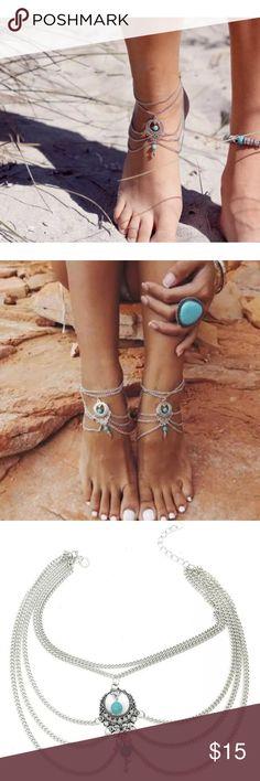 Tassel Barefoot Beach Boho Sandal Anklet Tassel Barefoot Beach Boho Sandal Anklet set of two. Jewelry