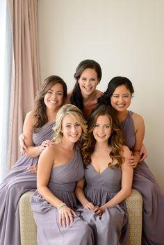 Beautiful bridesmaids wearing #DonnaMorgan Rachel & Laura dresses in Grey Ridge// Natalie & Brent// Toronto, Canada #greyweddings #purpleweddings #weddinginspiration #longbridesmaiddresses