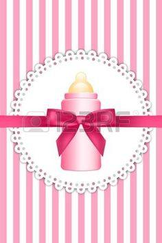 principessa vintage: Vector sfondo rosa con fiocco e biberon