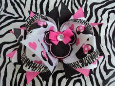 Zebra Minnie Mouse hairbow by altobin on Etsy, $7.75