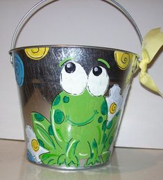 Cute Frog bucket perfect for teachers classroom or childs room hand painted and personalized