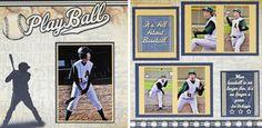 Baseball Double Page Layout #Scrapbook