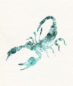 Green Shibori Scorpion  Art Print