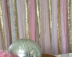 Peach, Pink & Gold sparkle sequin mixed various fabrics and lace. Torn and rag tied - edges are meant to fray.  Perfect for accenting cake smash photo prop, cake table, nursery, doorways, ceremony stage, drape between trees or use as your photo booth background. Other garland uses: Special Events - bridal shower, baby shower, birthday parties, graduations, retirement parties, engagement photos. CUSTOMIZE!!!!! - Can be made any color blend, width or length - convo for pricing.  Size Note: ...