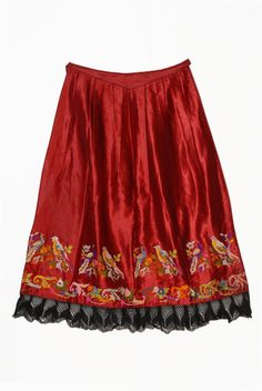 Female Vlach costume: Red satin apron embroidered with multicoloured silk threads. Country: Greece, Geographic Area: Epirus, Prefecture: Ioannina, Region: Metsovo @ Lyceum Club of Greek Women Greek Traditional Dress, Traditional Outfits, Folk Costume, Costumes, Folk Clothing, Red Satin, Silk Thread, Albania, Tie Dye Skirt