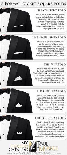 5 Formal Pocket Square Folds - in case the guys wear pocket squares Style Gentleman, Gentleman Mode, Mens Fashion Blog, Fashion Moda, Men's Fashion, Formal Fashion, Fashion Menswear, Fashion Black, Fashion Ideas