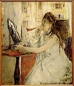 Jeune femme se poudrant - Berthe Morisot (French, 1841-1895) Impressionism
