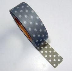 Grey and White Polka Dot Washi Tape by CloudNineSupplyShop on Etsy, $3.50