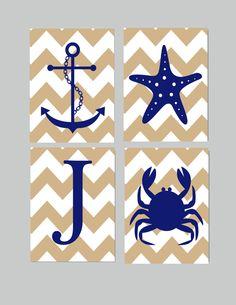 Nautical Nursery Decor- Kids Wall Prints- Nursery Wall Art- Set of 4 Beach Ocean Themed Prints- Anchor Starfish Crab Personalized Initial-. $40.00, via Etsy.