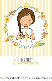 my first communion girl. Pretty girl inside a flower frame Scrapbook Albums, Scrapbook Paper, First Communion, Flower Frame, Special Day, Hello Kitty, Religion, Cross Stitch, Clip Art