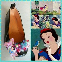 Handmade black leather ballerina decorated with the snow white designed by Elli lyraraki