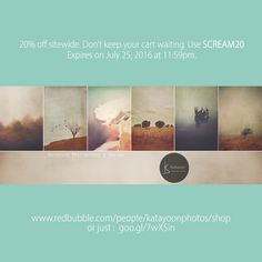 20% off sitewide. Don't keep your cart waiting. Use SCREAM20 Expires on July 25, 2016 at 11:59pm. www.redbubble.com/people/katayoonphotos/shop #sale #specialoffer #art #decor #fashion #accessories #beautiful #love #vintage #photography #design #artist #gift #bargain #deal #deals #giftideas #young #hipster #trend #trendy #off #easyshopping #affordable #wallart #homedecor #beautifulhomes #beautifulrooms