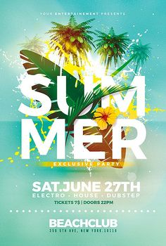 summer poster Beautiful Summer Party Flyer Templates Editable, Easy to customize. Browse Summer Psd Flyer Templates, Graphic Themes, Print Design and More. Creative-flyers makes creating Flyer Template easy. Event Poster Design, Creative Poster Design, Creative Posters, Graphic Design Posters, Graphic Design Inspiration, Flyer Design, Dubstep, Banner Aniversario, Flugblatt Design