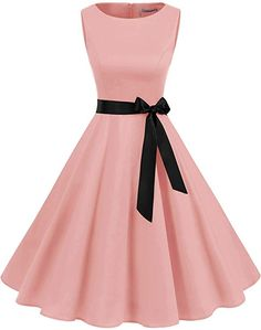 Gardenwed Women's Audrey Hepburn Rockabilly Vintage Dress Retro Cocktail Swing Party Dress Blush Source by aninnor dress cocktail Pretty Prom Dresses, Simple Dresses, Pretty Outfits, Cute Dresses, Beautiful Dresses, Short Dresses, Girls Dresses, Homecoming Dresses, Vintage 1950s Dresses