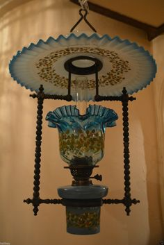 Stunning rare Victorian hanging oil lamp with original glass font and shade in Antiques, Antique Furniture, Lamps | eBay