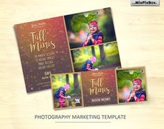 Fall Mini Session Template v.2 is perfect for advertising your upcoming Autumn Mini Sessions! Also can be used as blog board, postcard, photo newsletter or flyer!