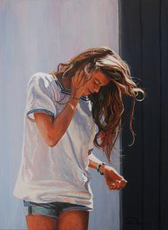 Saatchi Online Artist: Antoine Renault; Acrylic, 2013, Painting On se retrouve à la Clère ? #linen #nectarine #monacoblue