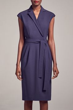Ready to try the Catherine dress? This tailored dress combines a formal-looking collar with a flattering wrap closure and hits just below the knee.