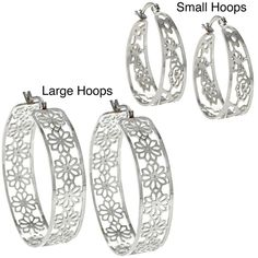 La Preciosa High-polish Stainless Steel Saddleback Hoop Earrings - Overstock™ Shopping - Big Discounts on La Preciosa Stainless Steel Earrings