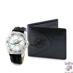 $48.50: Miami Dolphins Watch-Wallet Combo Set