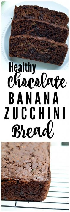 Double chocolate banana zucchini quick bread recipe. This is moist, decadent, but still a healthy quick bread recipe!