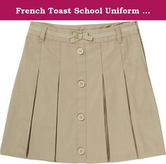 French Toast School Uniform Girls Pleat Button Front Scooter, Khaki, 18. Adjustable Waist. Decorative DTM Grosgrain Ribbon Taping with Bow. 6 oz. Cotton Blend Twill. Decorative DTM Buttons. Knit Shorts for Comfort. Zipper Side Entry.