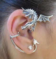 Game of Thrones Inspired Guardian Dragon Ear Wrap Sterling Silver Non Pierced Ear Wrap Ear Cuff