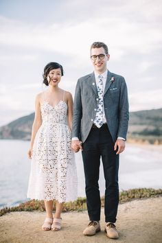 """Every Alt-Bride Will Want A Wedding Like This #refinery29 http://www.refinery29.com/unique-seaside-wedding#slide-8 """"This lacey number from Self-Portrait felt easygoing yet special at the same time, and I like telling people that I bought my wedding dress on the internet,"""" Cheng tells Refinery29.""""Len kept the indigo motif of our wedding in mind, and found the perfect chambray jacket from one of his favorite Japanese brands..."""