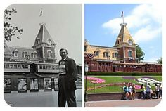 Walt Disney at Disneyland's Main Gate entrance, in front of the Train Station. Then and now. (From Walt Disney Addicts on Facebook.)