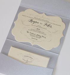 Hayden Diecut Frame Horizontal Pocket fold Wedding Invitation by EmbellishedPaperie, $7.25