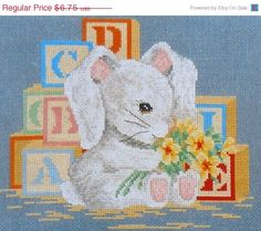 Laura Doyle BUNNY with ALPHABET Blocks - Counted Cross Stitch Pattern Chart