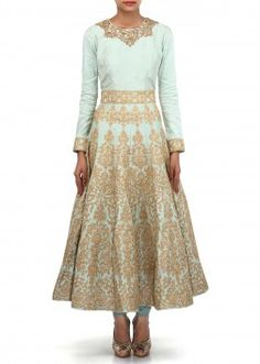 Ice blue anarkali suit adorn in zari and sequin embroidery only on Kalki