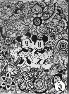 Mickey And Minnie Design Disney Coloring Pages Adult