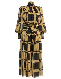 The Resistance Roll Neck Dress in Gold Cubic from our Fall 2019 Ready To Wear Collection. A silk midi dress with drop waist and lantern sleeves. silk satin chiffon, drop waist silhouette with high neck, gathered skirt and sleeves, rouleau belt loops and Modest Fashion, Hijab Fashion, Fashion Dresses, Roll Neck Dress, Dress Up, Lovely Dresses, Stylish Dresses, Stylish Dress Designs, Looks Chic
