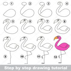 Drawing tutorial for children. How to draw the funny Flamingo Art Drawings For Kids, Drawing For Kids, Easy Drawings, Animal Drawings, Art For Kids, How To Draw Flamingo, Flamingo Drawings, Doodle Art Drawing, T Shirt Painting