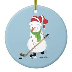 Hockey Snowman Christmas Ornament