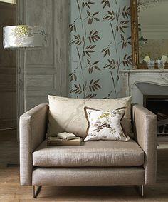 Modern fabric: Mid-century modern chair + luxurious netural velvet + tone-on-tone cherry blossom jacquard by xJavierx, via Flickr