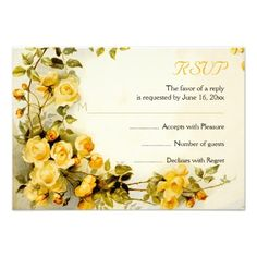 Vintage romantic painting of yellow roses wedding RSVP reply card. #roses, #RSVP, #replycard, #card, #romantic, #vintage, #floral, yellow  See more designs http://www.zazzle.com/weddings_?rf=238228936251904937=zBookmarklet