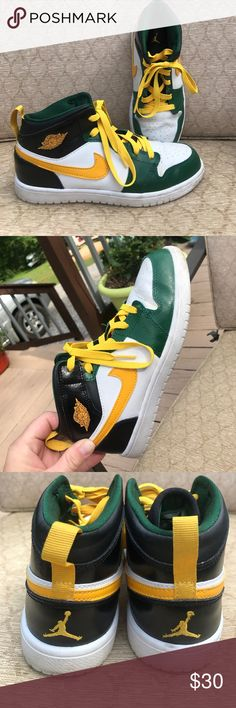 Nike Air Jordan's 2Y green yellow white Jordan's Good used condition. Nike Shoes Sneakers