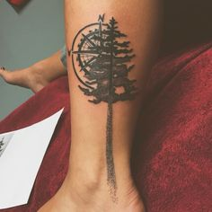 Stipple NW tribute tattoo. Pine tree, compass, pnw