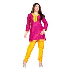 Pink and Yellow Color Embelleshes Cotton Kurtis
