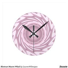 Abstract Mauve Whirl Round Clock