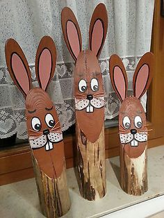 Wooden Easter bunny, tree trunk, Easter bunny tribe, easter decoration, bunny Source by ebmeyergmbh Wood Slice Crafts, Wooden Crafts, Diy And Crafts, Crafts For Kids, Easter Projects, Easter Crafts, Holiday Crafts, Craft Projects, Kids Wood
