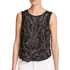 Haute Hippie Paisley-Embellished Silk Tank Top ($160) ❤ liked on Polyvore featuring tops, black, paisley tank, pullover top, paisley top, silk tank and silk tank tops